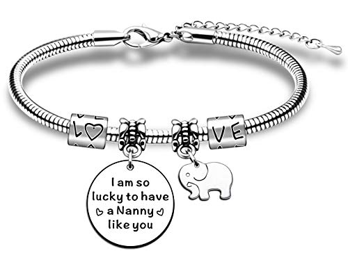 JMIMO Bracelet for Nanny from Grandchildren Adjustable Charm Snake Bracelet Jewelry Gift for Nanny Nan Nannie