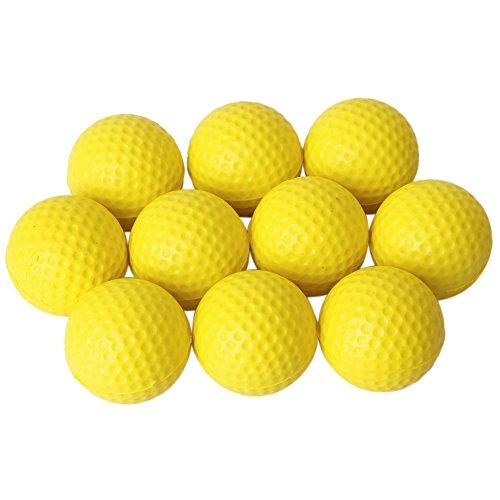 Chytaii 10pcs Pelota Golf Práctica Suave Bola Entrenamiento PU para Deporte Interior Softball de Golf 42.6mm Amarillo