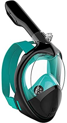 Poppin Kicks Full Face Snorkel Mask for Adult Youth and Kids | 180° Panoramic View Anti-Fog & Anti-Leak Easy Breathe Snorkeling Set with Detachable Camera Mount (3.0 Black/Marine Green, Small/Medium)