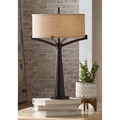 Tremont Mid Century Modern Table Lamp Rich Bronze Iron Burlap Fabric Drum...