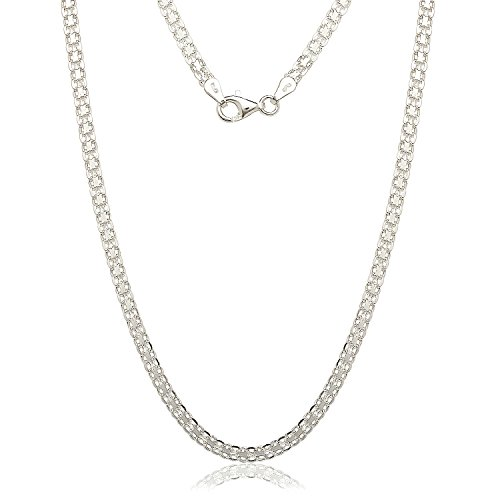 "JewelryWeb Sterling Silver Italian 3.5mm Bismark Chain Necklace (16-30"") (16-inch)"
