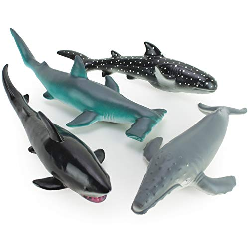 Boley 4 Piece Soft Whale and Shark Figure Toys - Realistic Humpback Whale Hammerhead Great White and Whale Shark Figurines - Educational Ocean Creature Toys for Kids Children Toddlers