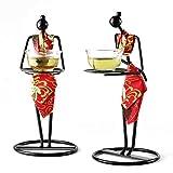 Objeto Decorativo para el hogar 2 unids/Set Chino Ceremonial Maid Tea Tea Camarera Sculpture Candlestick Desktop Decorations Regalo ZDWN