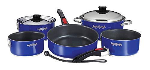 Magma Products, A10–366-cb-2 Gourmet gigognes Batterie de Cuisine en Acier Inoxydable avec antiadhésif Ceramica (10 pièces), Bleu Cobalt