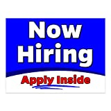 Now Hiring Apply Inside 32' x 24' Perforated Removable Window Decal (Made in The USA)