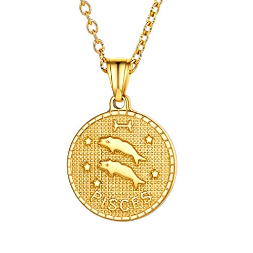 18k Gold Pisces Coin Necklace Bestfriend Jewelry Stainless Steel Horoscope Constellation Zodiac Star Sign Charm Necklace for Women Men Birthday Gift