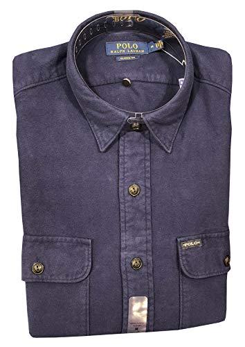 Polo Ralph Lauren Mens Classic fit Flannel Shirt (XXL, Navy)