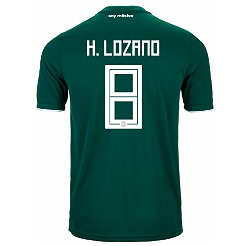adidas H. Lozano # 8Mexiko Home Fußball Stadion Herren Trikot World Cup Russland 2018, Herren, Collegiate Green/White, X-Large