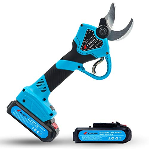 KOHAM Professional Cordless Electric Pruning Shears with 2pcs Backup Rechargeable 2Ah Lithium Battery Powered UL Compliant Tree Branch Pruner 30mm (1.2 Inch) Cutting Diameter 6-8 Working Hours (Blue)