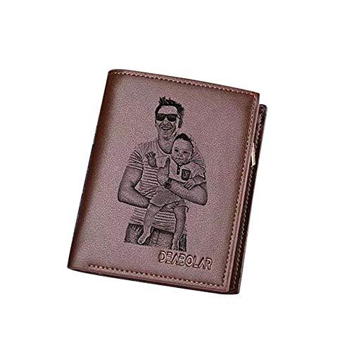Carteras de Fotos Personalizadas Carteras de Tarjetas de crédito para Hombres Monedero de Bifold para Regalo de Novio de Padres