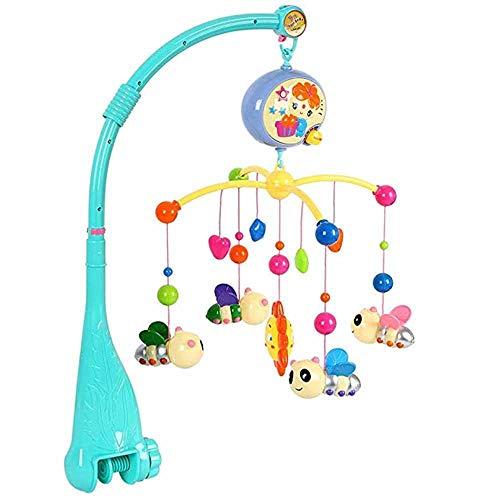 PINKE Bebé Música Cuna Móvil Juguete Cuatro Abejas Portátiles Pequeño Sol Ajustable Volumen Reproductor, Soporte Fijo Rotación Canción Relajante Con Control Remoto Bebé Niño Niña (Multicolor)(Blue)