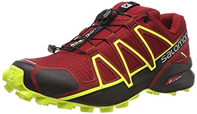 Salomon Men's Speedcross 4 Trail Shoes Red Dahlia/Black/Safety Yellow 10