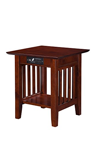 """Atlantic Furniture AH14214 Mission End Table with Charging Station, Walnut End Table (20"""" x 20"""")"""