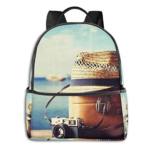 Schulrucksack Schultaschen Mädchen Teenager Rucksack Schultasche Schulrucksäcke wasserdichte Backpack für Damen Herren Geeignet 14 Zoll Notebook Koffer Hipster Hut Fotokamera