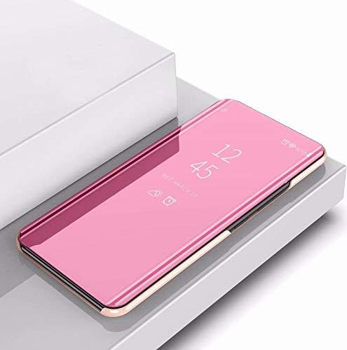 Wdckxy Paulcase Placcatura specchio sinistro e destro Flip Cover con staffa fondina per iPhone 11 (colore : oro rosa)