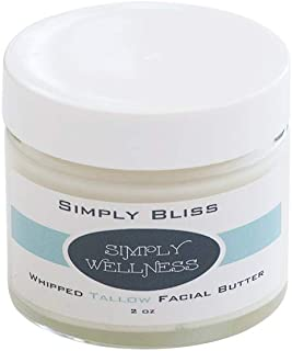 Simply BLISS Whipped Tallow Facial Butterw/CoQ10 (2 Oz glass jar) NO Chemicals - Organic - Dry/Sensitive skin - w/Patchouli & Lavender Essential Oils-Treats all Skin Issues; Psoriases, Rosacea, Rash