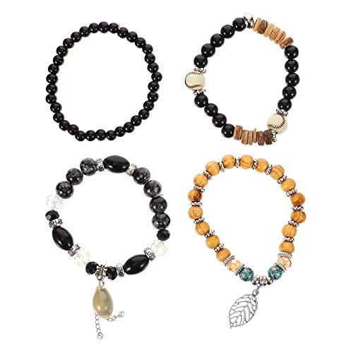ifundom 4- en- 1 Juego de Cadenas de muñeca Multi- Layer Gift Jewelry Shell Pulsera de diseño con Cuentas Party Supplies