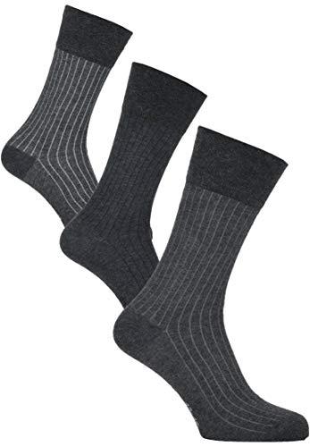 Carlo Colucci Moderne Streifen-Socken, Grau-Melange Graumelange 43-46