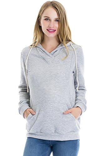 Smallshow Stillanzug Mutterschaft Fleece Stillpullover Stilloberteil Umstandsmode Hoodie Sweatshirt zum Stillen Light Grey S