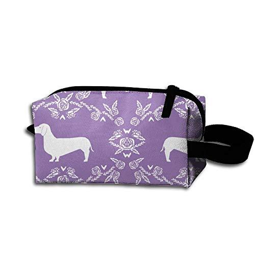 Travel Makeup Dachshund Floral Dog Purple Beautiful Waterproof Cosmetic Bag Quick Makeup Bag Pencil Case
