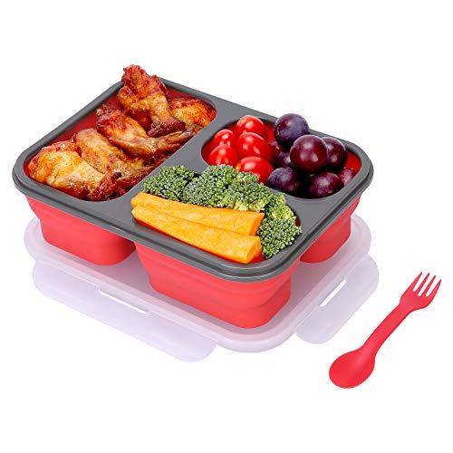 YESURPRISE Bento Box, Faltbare Lunchbox silikon mit Gabel/Löffel und 3 Fächern, BPA frei, für Kinder Erwachsene und Alte (Rot)