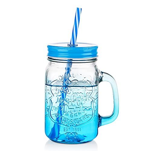 Vasos de cristal con asa – 350 ml para conservas con pajita y tapa, ZDZDZ, tarro de cristal para cerveza, leche, zumo y más (azul)