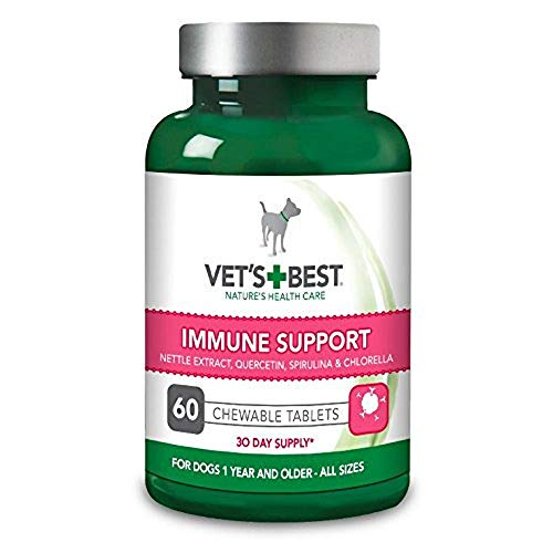 Vet's Best Immune Support Dog Supplement Fördert gesundes Immunsystem & saisonale Allergie Linderung (60 Tabletten)