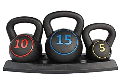 HooKung 3-Piece Kettlebell for Home Gym and Home Workouts Exercise Fitness Weight Set w/ 5lb, 10lb, 15lb Weights, Base Rack from HooKung