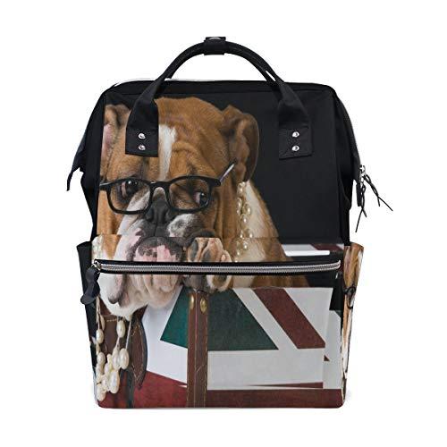 Englische Bulldogge Britische Flagge Union Jack Multifunktions Wickeltaschen Rucksack Reisetasche