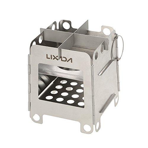 LIXADA バーベキューコンロ 焚き火台 折りたたみコンロ ステンレス製 キャンプストーブ 薪ウッドストーブ 燃料不要 組立簡単 コンパクト 軽量 アウトドア キャンプ用 収納袋