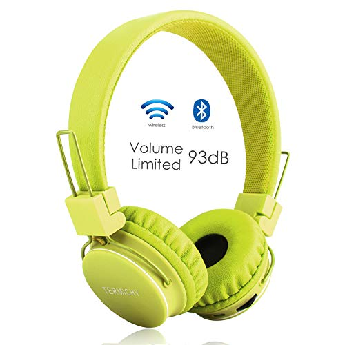 Auriculares Bluetooth para Niños, Auriculares Plegable para Niños con Volumen Limitado,Auriculares Bluetooth Inalámbricos, 3.5mm Jack Niño Adulto con Micrófono de Control de Volumen de Radio en Línea FM(Verde)