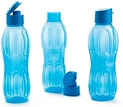 Signoraware Fliptop Aqua Plastic Bottle Set, Set of 3, 1 Litre, Blue