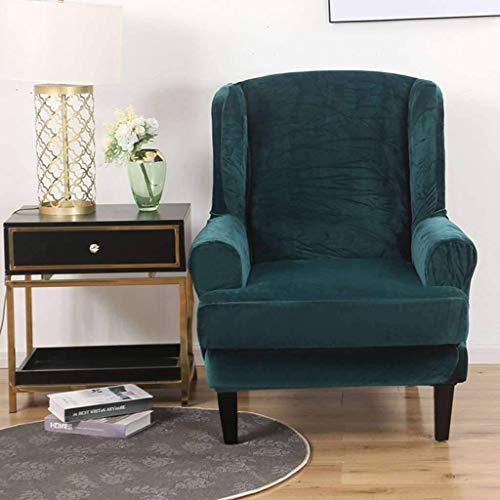 YWTT Velvet Wingback Chair Schonbezug, 2 PCS Stretch Wing Chair Cover Wing Armchair Möbelschutz für Wing Back Chair-grün