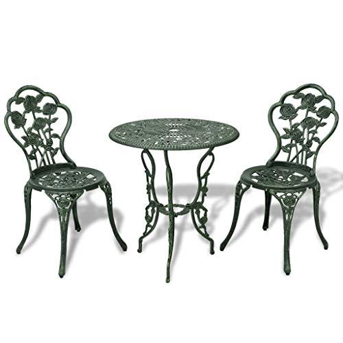 vidaXL Juego de Mesa y Sillas Bistro Jardín Aluminio Verde Muebles de Patio