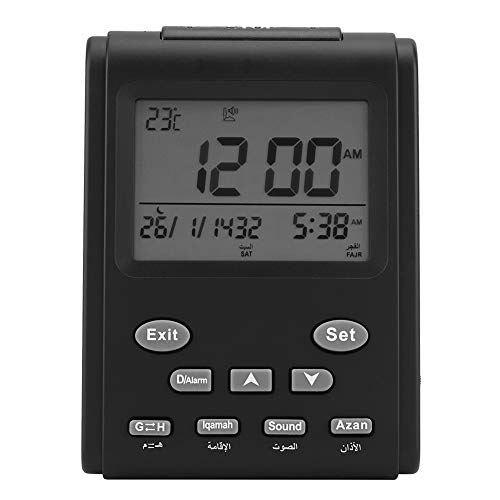Multifuncional Reloj Despertador Digital Automático Reloj Islámico Alarma de Oración Musulmana Digital LCD Automático Montado en la Pared Mesa de Reloj de Escritorio para el Hogar