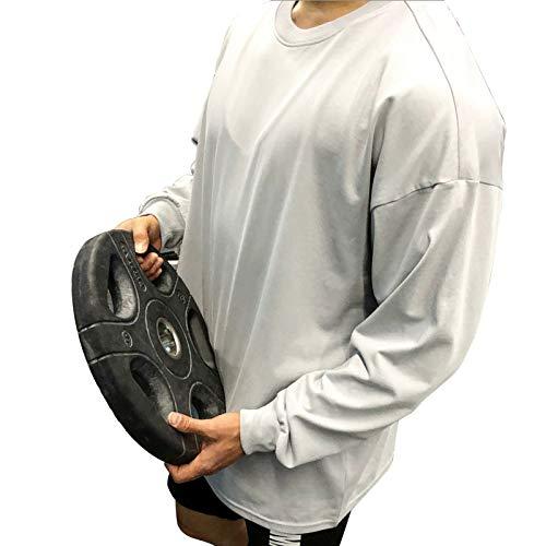 Camiseta de manga larga para hombre casual de moda sin cuello camiseta de algodón deportes gimnasio