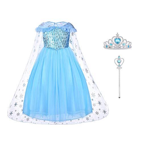 URAQT Mädchen Prinzessin ELSA Kleid Kostüm Set aus Diadem, Zauberstab (#5110cm-3-4J)