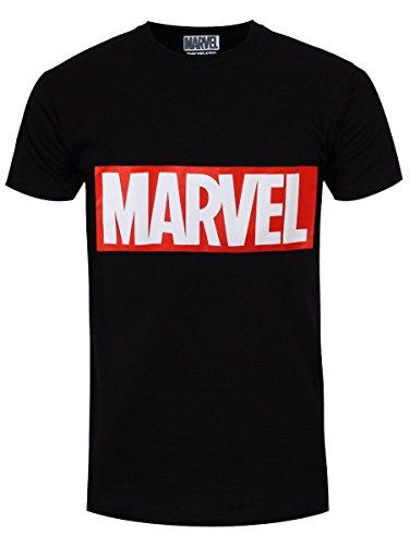 Marvel Comics Box Logo Camiseta, Negro, XL para Hombre