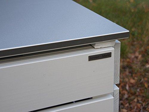 2er Mülltonnenbox 120 L, Holz / Edelstahl – Deckel, Douglasie Natur - 5