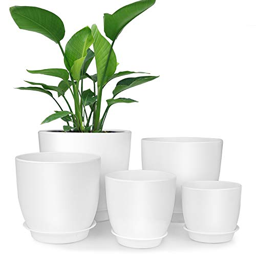 Plastic Planter, HOMENOTE 7/6/5.5/4.5/3.5 Inch Flower Pot Indoor Modern Decorative Plastic Pots for Plants with Drainage Hole and Tray for All House Plants, Succulents, Flowers, and Cactus, White