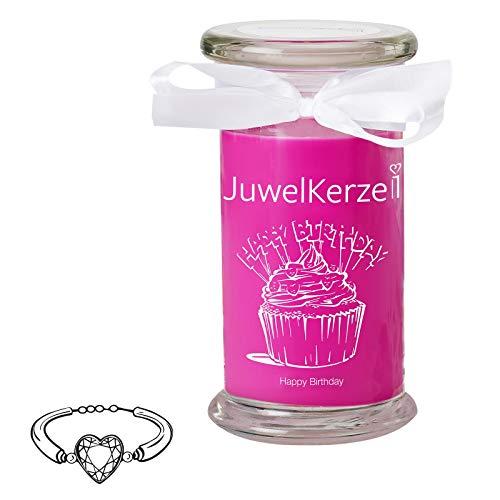 JuwelKerze Happy Birthday - Große Duftkerze mit Schmuck Überraschung - Geburtstagsgeschenk für Frauen (Silber Armband)