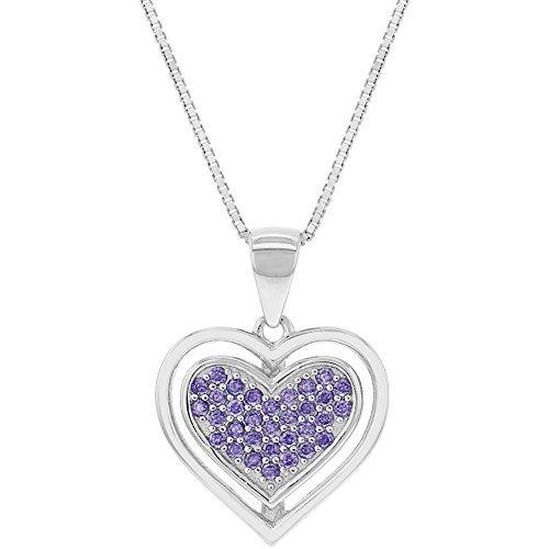 925sterling Silver Purple CZ piccolo cuore ciondolo collana ragazzi ragazze 45,7cm