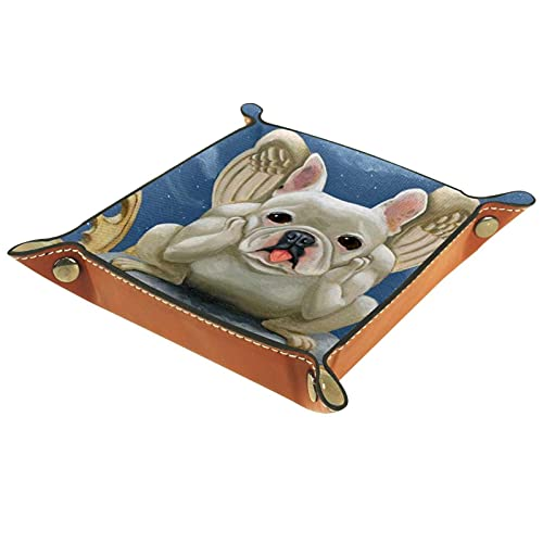 Valet Tray,Catchall Tray Desk Organizer decoration Key Jewelry Tray for Table Coin Clean up french bulldog frenchie gargoyle dog art for Office home