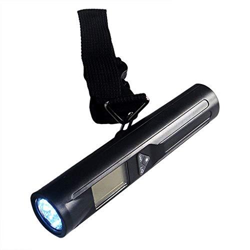 Básculas de cocina Báscula Digital Para Equipaje, Linterna LED Integrados Balanza Electrónica Portátil Para Maleta 88lb/40kg con LCD Función de Tara (Color : Black, Size : 152x30x30mm)