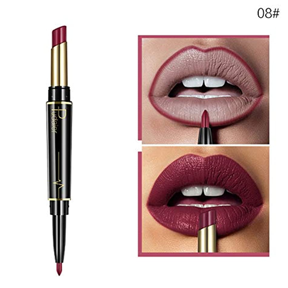 1Pc Matte Lipstick Wateproof Double Ended Long Lasting Cosmetics 08