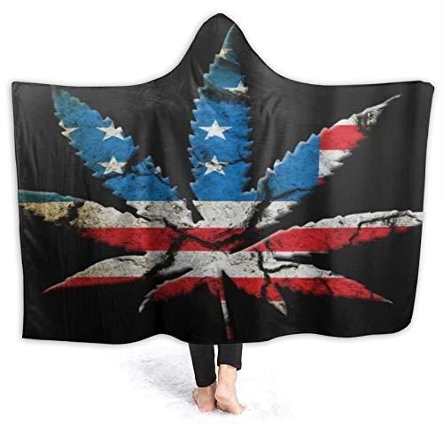 SUHETI Tragbare Hoodie Decke,Marihuana Leaf Four Seasons,Umhang Druck Grafik warm...