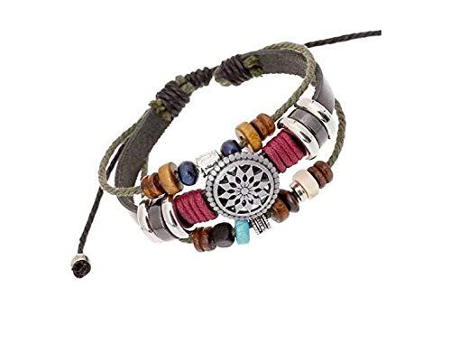 Liroyal Pulsera de cuero trenzada con amuleto turco para proteger del mal de ojo, ajustable,Con un bolso de joyería