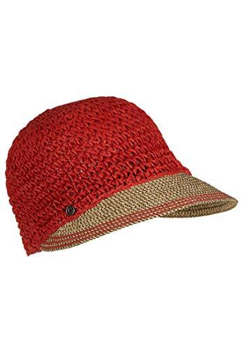 LOEVENICH Damen sommerliche Häkelkappe aus Papier-Stroh, Farbe: red