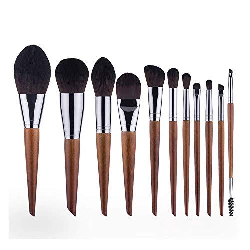 JFFFFWI 11 Pcs Maquillage Pinceau Ensemble, Oblique Poignée en Bois Poils Synthétiques Blush Ombre À Paupières Cosmétique Brosse