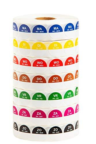 Labeltrading HACCP 7 rollen dagstickers (2000 Etiketten per rol) 19 mm,past in elke keuken, hygiënisch verantwoord, navulbaar, ook los verkrijgbaar. Korting op gehele set